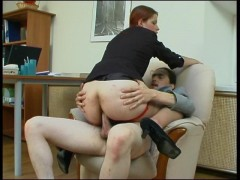 Female co-worker in lacy hose getting her ass packed right at working placevideo