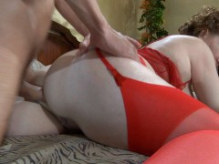 Raunchy mom clad in red undies blows young meat before rough anal poundingvideo