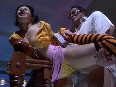 Tasty girlie in stripy stockings gets groped and pussy eaten by an old manvideo