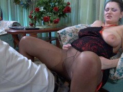 Big breasted cougar in control top pantyhose takes advantage of a young boyvideo