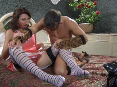 Frisky babe in striped stockings prefers role games with hardcore finalevideo