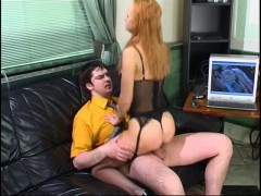 Voluptuous gal in slight sheen stockings having a good fucking time on sofavideo