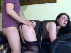 Randy babe in black stockings going from cock-sucking to doggystyle fuckingvideo
